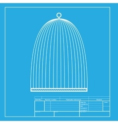 Bird cage sign white section of icon on blueprint vector