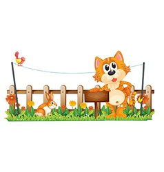A tiger holding an empty wooden signboard near the vector image vector image