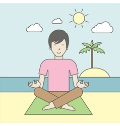 Asian man meditating vector