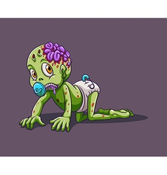 Baby zombie crawling alone vector