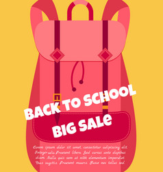 Back to school background with backpack and text vector