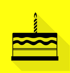 Birthday cake sign black icon with flat style vector