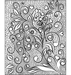 Black lace design Old lace background ornamental vector image