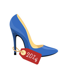 Blue stiletto shoe with price tag isolated on vector
