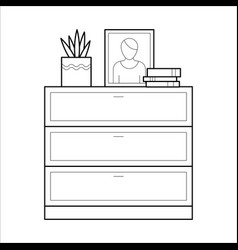 chest of drawers flat icon vector image vector image