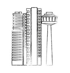 city architectural modern buildings in panoramic vector image