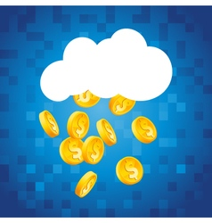 Cloud raining gold dollar coins vector
