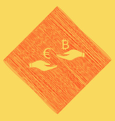 currency exchange from hand to hand euro an vector image vector image
