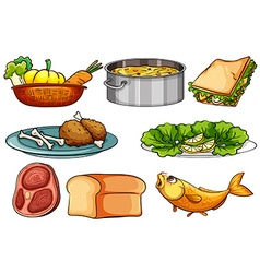 Different kinds of food and snack vector image
