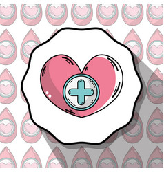 Emblem blood donation heart with cross symbol vector