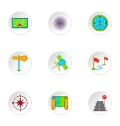 Find way icons set cartoon style vector image vector image