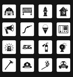 Fireman tools icons set squares vector