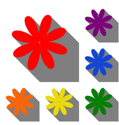 Flower sign set of red orange vector