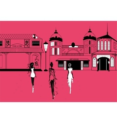 Graphic women silhouettes on street vector image vector image