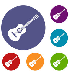 guitar icons set vector image
