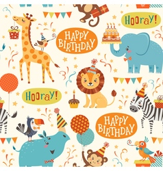 Happy birthday animals pattern vector image