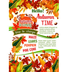 Hello autumn banner of fall harvest celebration vector