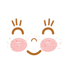 Kawaii happy face with cheeks and eyes vector
