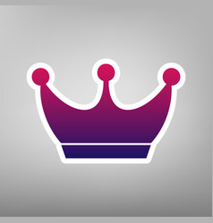 King crown sign purple gradient icon on vector