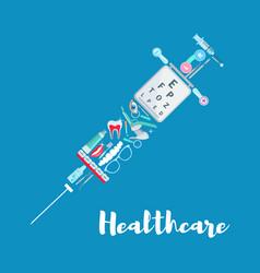 Medical care syringe medicine poster vector