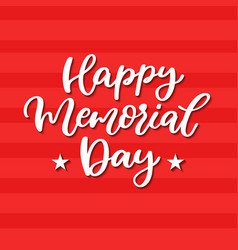 Memorial day hand lettering american vector