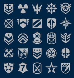 Military icons symbol set on navy vector image vector image