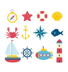 Nautical design elements in flat style Collection vector image vector image
