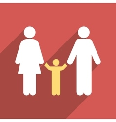Parents and child flat long shadow square icon vector