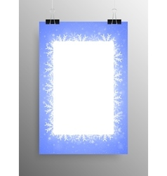 Poster frame falling snow blue background vector