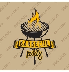 Retro logo design with bbq grilled and flame vector