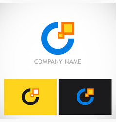 Round letter c digital technology logo vector