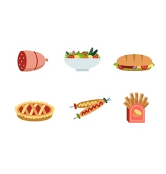 Set of traditional food icons vector image vector image