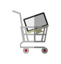 Shopping cart online computer digital color shadow vector