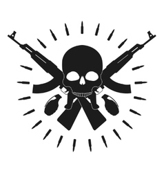 Skull 2 grenades 2 crossed assault rifles emblem vector