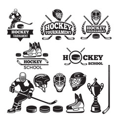 sport labels for hockey team badges set vector image vector image