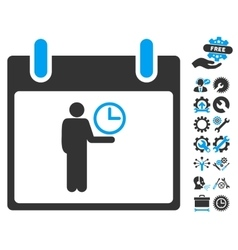 Time manager calendar day icon with bonus vector