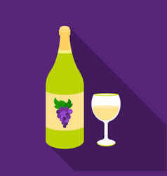 white wine icon in flat style isolated on white vector image
