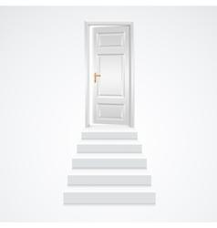 White Staircase to Open Door vector image