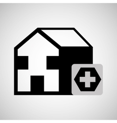 Building hospital cross icon graphic vector