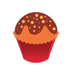 Sweet and delicious cupcake icon vector