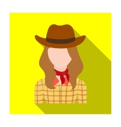Cowgirl icon in flat style isolated on white vector image