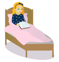Little girl read book in bed vector