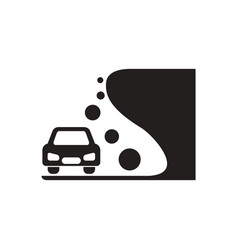 Black icon on white background car and rock vector