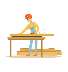 Young carpenter man working with wood in his vector