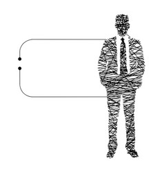 continuous line businessman vector image