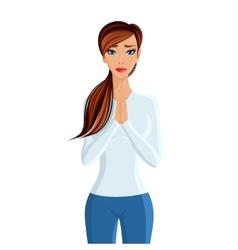 Woman praying portrait vector image