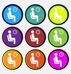 Waiting icon sign nine multi colored round buttons vector