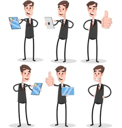 Set flat businessman with tablet vector