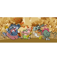 cartoon funny animals flee to school in the fall vector image