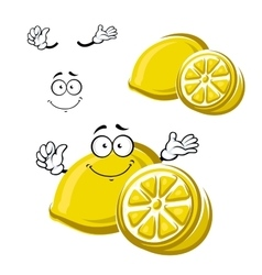 Cartoon happy ripe lemon fruit vector